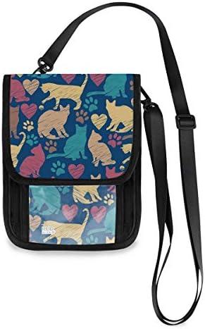 トラベルウォレット ミニ ネックポーチトラベルポーチ ポータブル ネコ柄 カラフルな猫 小さな財布 斜めのパッケージ 首ひも調節可能 ネックポーチ スキミング防止 男女兼用 トラベルポーチ カードケース