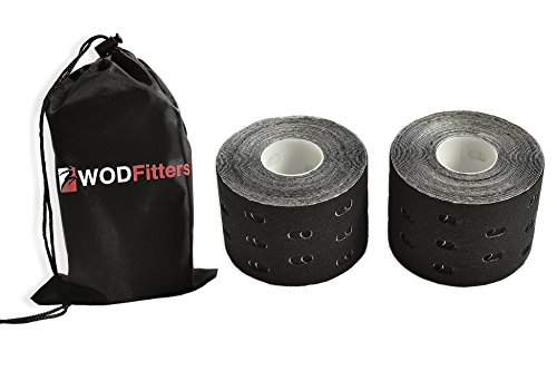 WODFitters Extra Breathable Porous Kinesiology Tape - 2 Pack with Carrying Bag | Durable, Adhesive & Elastic Cotton Kinesiology Athletic Tape (2 Pack, Black with Holes) (Chiropractic Tape)