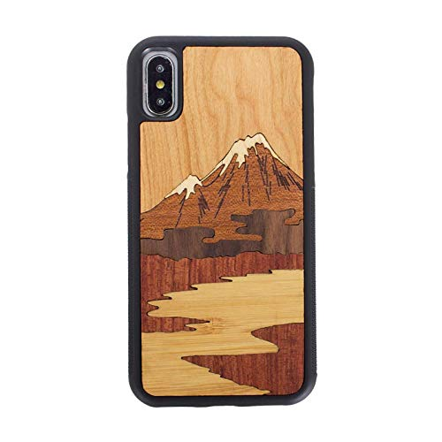 (Fitted Cases - One Piece Real Wood Retro Original Style Phone Case for iPhone 6 S 7 8 Plus X S Carving Business Protective Screen Wooden Cover - by LENALE)