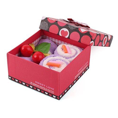eDealMax Viso Mano microfibra Festa di Compleanno Cherry decorazione a secco Confezione Regalo del tovagliolo washcloth Viola