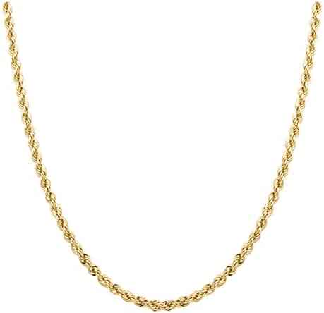 10K Gold 2.0MM Diamond Cut Rope Chain Necklace Unisex Sizes 16
