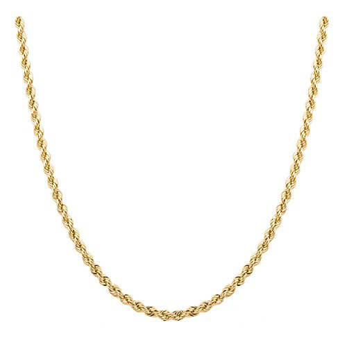 Sterling Silver 2mm diamond cut rope chain necklace- Made In Italy (Yellow, ()