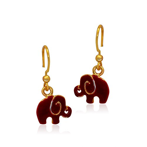 Mahi Women's Red Elephant Gold Plated (24k Elephant Earrings)