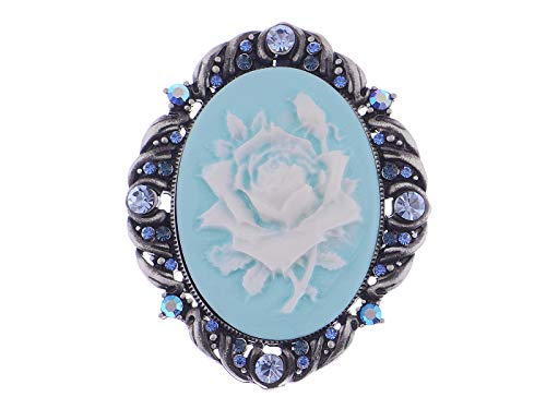 (Alilang Vintage Inspired Antique Reproduct Rose Pink Crystal Flower Cameo Pin Brooch, Blue)