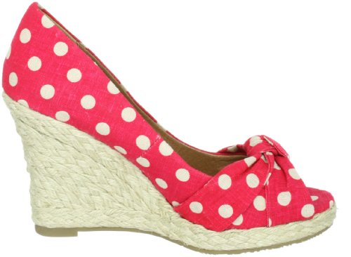 Buffalo London 311-4878 LINEN POLKA DOTS 1308 - Sandalias de tela para mujer Rojo (Rot (Red 04))
