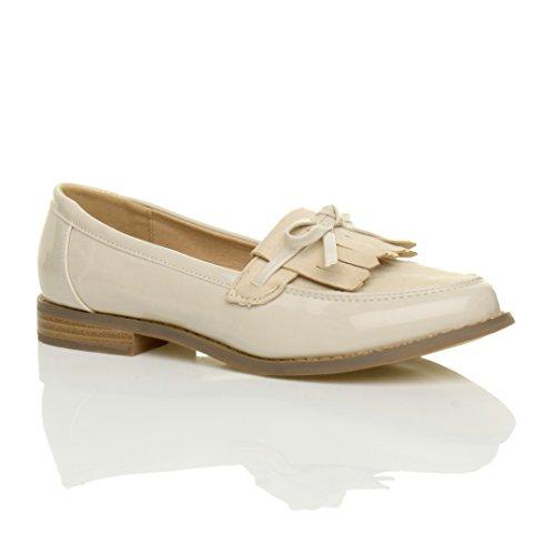 Ajvani Womens Ladies Flat Low Heel Contrast Fringe Tassel Bow Loafers Work Shoes Size Nude Patent / Suede VWl6QHn