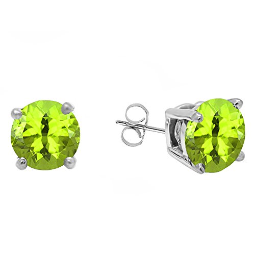 18K White Gold 5.5 MM Each Round Peridot Ladies Solitaire Stud Earrings