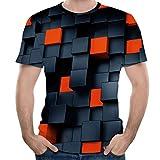 Bsjmlxg Fashion Mens 5D Printing Tees, Short Sleeve, Splash-Ink, Daily, Casual Black
