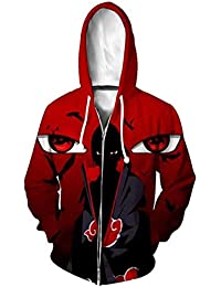 a516e665336 Men Naruto Kakashi Long Sleeve Full-Zip Bomber Jacket Hooded Varsity Jacket