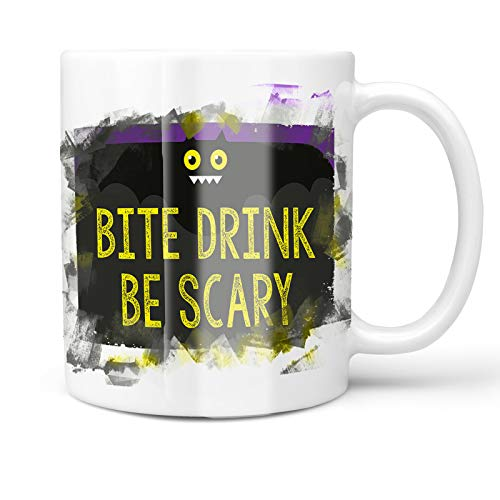 Neonblond 11oz Coffee Mug Bite Drink Be Scary Halloween Funny Bat with your Custom Name ()