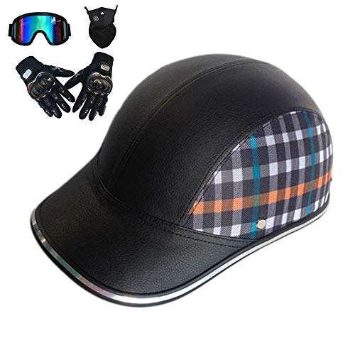 - Half Helmet Motorcycle Helmet Vintage Moped Chopper Helmet D.O.T Certified Lightweight Mini Baseball Cap Style Safety Helmet,2,M