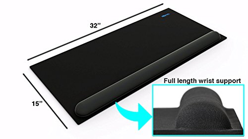 2 in 1 Extra Large Mouse Pad with Wrist Support - Premium Quality Memory Foam - Long & Wide Non-slip Rubber Base - Attached Keyboard Wrist Support for office and gaming, 32 X 15 inch, (Extra Table Support)