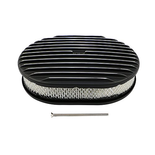 Assault Racing Products A6020-3PBK 12 x 2 Oval Full Polished Finsned Black Aluminum Air Cleaner Assembly Retro