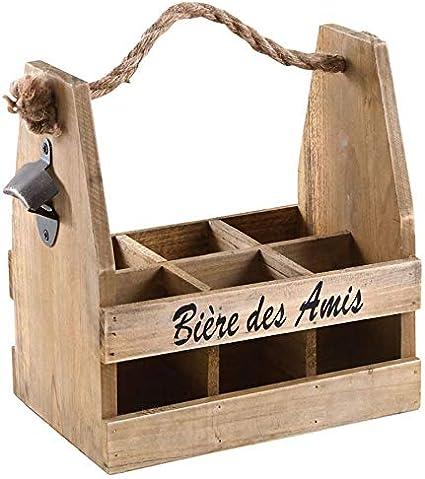 AubryGaspard Cesta para botellas metal y madera