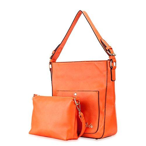 Barbie Bolso bandolera y baguette elegante de estilo chicas bolso casual con borlas para mujer BBFB578 30x10x30.5CM naranja
