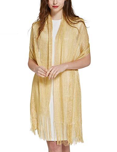 Gold Shawls Wraps for Evening Dresses - Pantonight Wedding Shawl Wrap Beach Swimwear Shawl Glitter Metallic Prom Party Scarf with Fringe (GOLD 559) - Gold Metallic Thread Scarf
