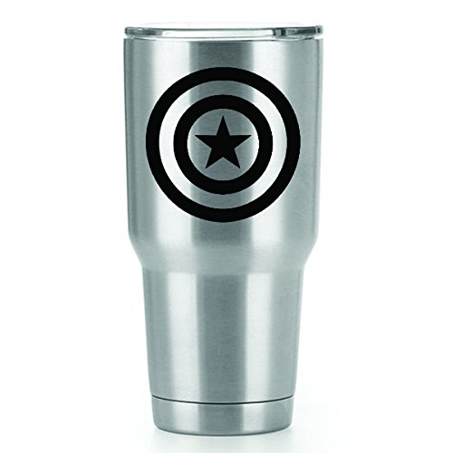 Captain America Vinyl Decals Stickers ( 2 Pack!!! ) | Yeti Tumbler Cup Ozark Trail RTIC Orca | Decals Only! Cup not Included! | 2 - 3 X 3 inch Black Decals | KCD1054 Captain America Vinyl