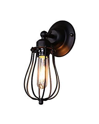 Splink Retro Wall Sconce Vintage Industrial Black Metal Wire Cage E26 Adjustable UP/DOWN Head Edison Wall Light
