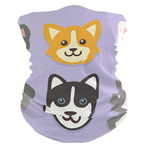 Happy Dog Face Balaclava Womens Headband Scarf Mens Versatile Bandana, Muffler, Neck Gaiter, Magic, Wristband Neckerchief