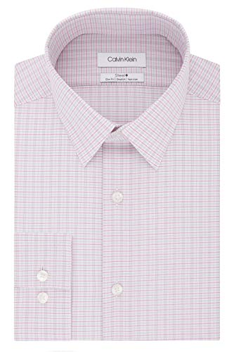 Calvin Klein Men's Dress Shirt Non Iron Stretch Slim Fit Check, Rose Multi, 15.5