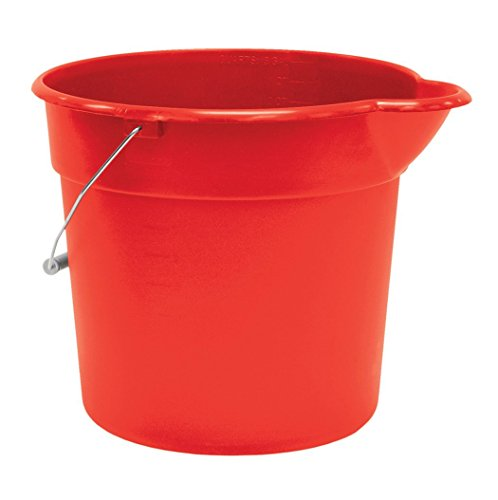 United Solutions PA0146 Red 3 Gallon (12 Quart) Plastic Utility Pail with Handle and Pouring Spout - Pack of 3 (Utility Plastic Pail)