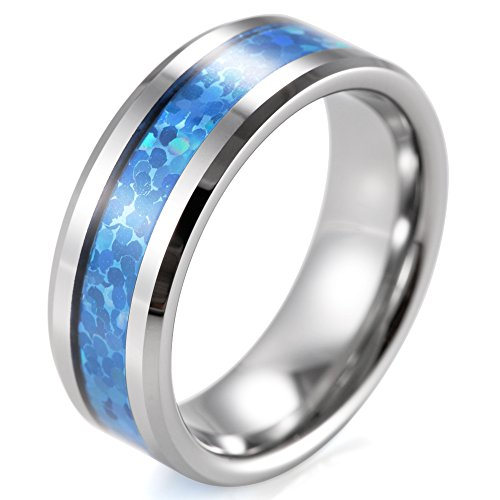 SHARDON Men's 8mm Beveled Tungsten Ring with Blue Opal Pattern Inlay Size 9.5 (Opal Inlay Ring)