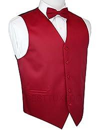 Italian Design, Men's Tuxedo Vest, Bow-Tie & Hankie Set in Red
