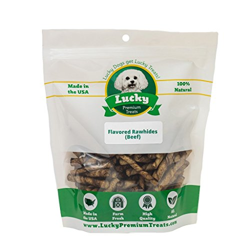 Lucky Premium Treats Beef Basted Rawhide Dog Treats for Toy Size Dogs Made in The USA Only, 70 Chews