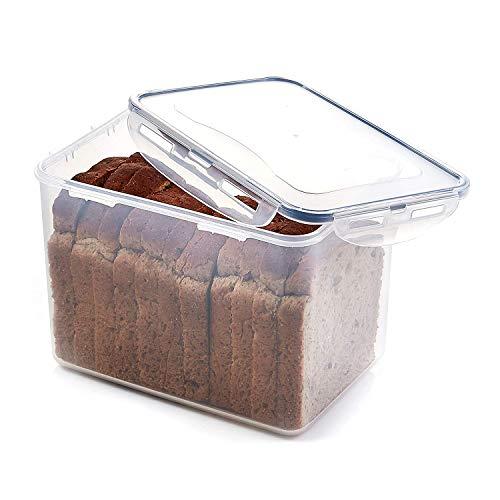FLODET BPA-Free Big Size Bread Box Airtight Container (Transparent, 22 X 15.5 X 14.5 Cm, 3300 Ml)