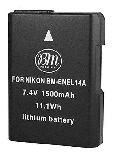 BM Premium EN-EL14A Battery for Nikon D3100, D3200, D3300, D3400, D5100, D5200, D5300, D5500, D5600, DF, Coolpix P7000, P7100, P7700 Digital SLR Cameras