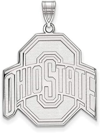 Ohio State University Buckeyes Red Black School Logo Pendant Gold Plated Silver 25x25mm