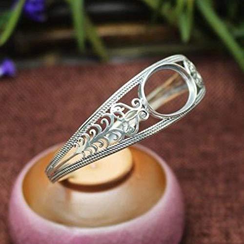 FidgetKute 925 Sterling Silver 15X20mm Oval Cut Semi Mount Fine Bracelet Filigree Bangle Show One Size