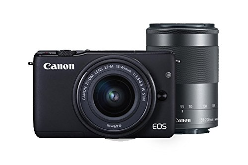 Canon EOS M10 Mirrorless Camera Kit EF-M 15-45mm f/3.5-6.3 and EF-M 55-200mm f/4.5-6.3 Image Stabilization STM Lenses (Black) For Sale