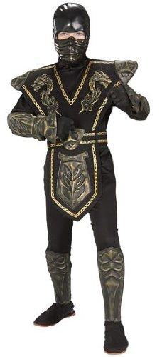 Child Gold Dragon Warrior Ninja Costumes (Skull Warrior Ninja Child Costume Gold - Large)