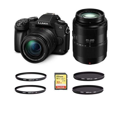 Panasonic Lumix DMC-G85 Mirrorless Camera with 12-60mm f/3.5-5.6 Lumix G Power OIS Lens, Black Lumix G Vario 45-200mm f/4-5.6 II Power O.I.S. Lens - with Filters and Card Bundle