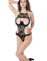 Blidece Women Lingerie Sling Open Cup Crotchless Floral Sexy Lingerie Lace Nighty