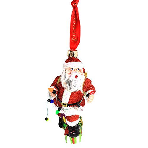 - Waterford Holiday Heirloom Santa with Lights Glass Ornament, Red