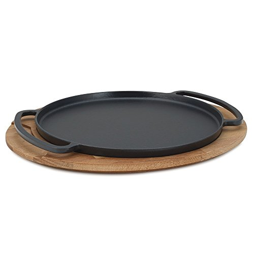 Enameled Cast Iron Round Griddle Tortilla Comal Small Pizza Pan with Wooden Trivet Serving Tray 11 Inch Cast Iron Serving Griddle