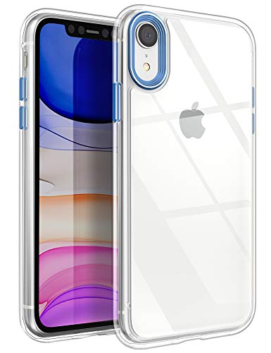 YOUMAKER Stylish Crystal Clear Case for iPhone XR, Anti-Scratch Shock Absorption Slim Fit Drop Protection Premium Bumper Cover Case for iPhone XR 6.1 inch (2018) - Blue/Clear