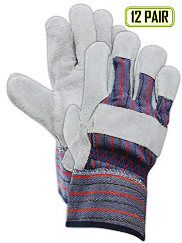 MAGID DuraMaster TG725E Leather Glove, Gauntlet Cuff, Large (12 Pair) Gray