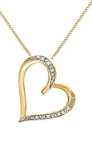 White Natural Diamond Accent Tilted Heart Pendant Necklace 14k Yellow Gold Over Sterling Silver