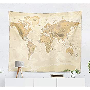 Summor Wall Tapestry, Wall Hanging Tapestry Unique Tapestries Map World Vintage Asia Europe South City Topography America Africa Japan Brown New 50x60 Inches for Living Room Wall Decor Bedroom
