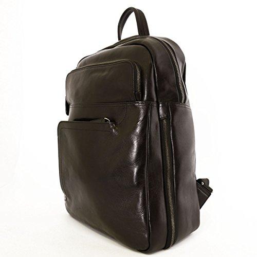 Herren Rucksack Aus Echtem Leder Mit Gepolsterter Tasche Farbe Schwarz - Italienische Lederwaren - Rucksack