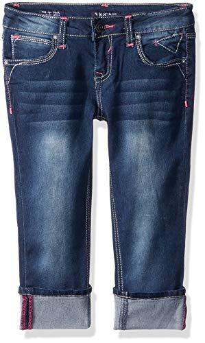 Cotton Woven Crop Pant (VIGOSS Girls' Little Fashion Crop Skinny Jean, BLUEBERRYCRM, 4)