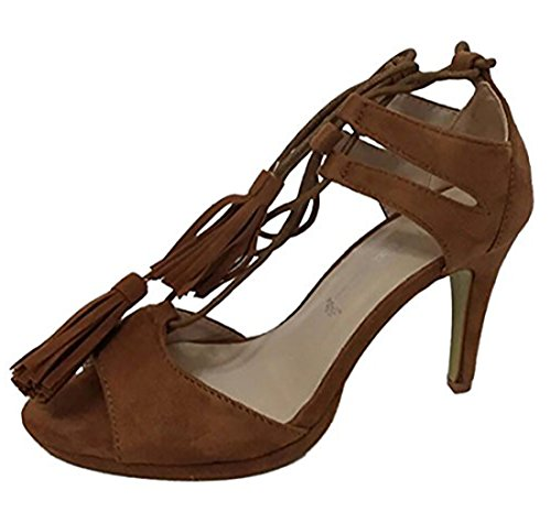 Scarpa Tacco Lacci Sandalo Camoscio Camel Tipo Donna Sandali Alta Mywy Intrecciati qXwEfT1xx