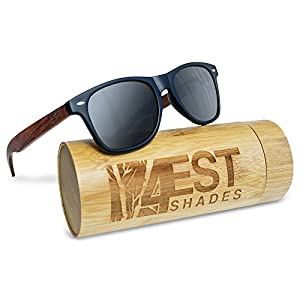 """Bamboo Sunglasses - 100% Polarized Wood Shades for Men & Women from the """"50/50"""" Collection (Red, 0.00)"""