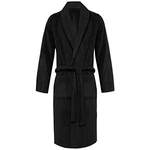 long black fleece dressing gown - 4