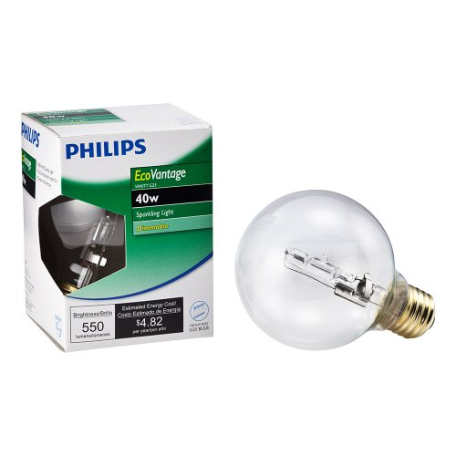 Philips 420844 40-watt G25 Clear Halogen Decorative Globe Light Bulb (Ev Globe)