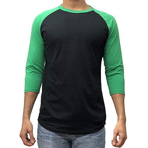 KANGORA Men's Plain Raglan Baseball Tee T-Shirt Unisex 3/4 Sleeve Casual Athletic Performance Jersey Shirt (24+ Colors) (Black Kelly Green, Medium)