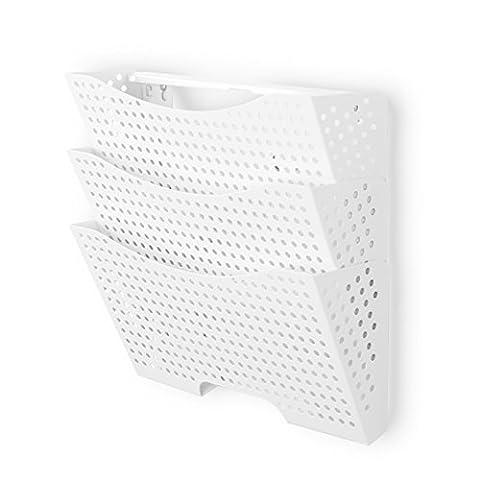 Wall File Holder Organizer Metal Modern Modular Design Metal 3 Storage Level Folders White Steel Durable Construction - Modular Office Storage